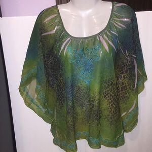 One World green animal print sheer top. Size Med